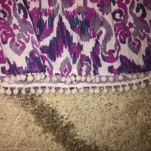 Lilly Pulitzer Skirts - NWOT Lilly Pulitzer Purple Print Mini Skirt w/Poms